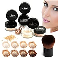 Set de maquillaje mineral NCinc para pieles claras, 8 piezas, tamaño mediano Brocha Kabuki incluida Set básico de maquillaje mineral NCinc
