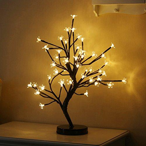 LEDMOMO Luce d'albero, lampada da tavolo lampada a fiore con batteria per la decorazione matrimonio (bianco caldo)