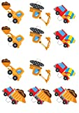 Diggers and Trucks, Kids Construction Vehicles Mix, Edible Cupcake Toppers - Stand-up Wafer Cake Decorations (Pack of 12)