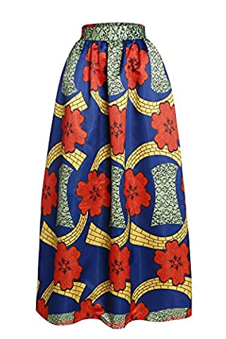 Bling-Bling Floral African Print Navy Maxi Skirt(Red,M)