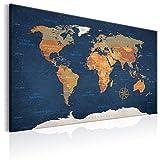 murando - Bilder 120x80 cm - Leinwandbilder - Fertig Aufgespannt - 1 Teilig - Wandbilder XXL - Kunstdrucke - Wandbild - Poster Weltkarte Welt Landkarte Kontinente k-C-0048-b-b