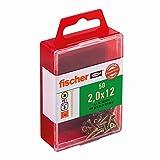Fischer 653915 Spanplattenschraube Power-Fast 2,0 x 12 mm | Schraube gelbverzinkt mit Senkkopf, Vollgewinde und Kreuzschlitz (PZ) | 50 Stück
