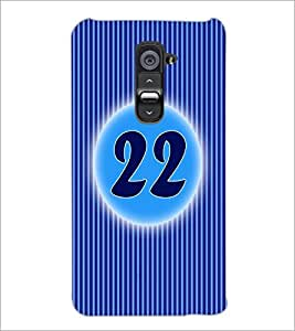 PrintDhaba Numerology Number 22 D-2580 Back Case Cover for LG G2 (Multi-Coloured)