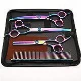 ZGQA-GQA Fashian Cinque Pezzi di Colore di Parrucchiere Scissors (cesoie piegatrici/Cesoie Dritti/dentistica Forbici/Pettine/Sacchetto di Cuoio/Invia Taglio strofinate Accessorio dei Capelli