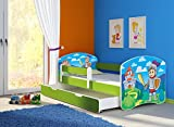 Clamaro 'Fantasia Grün' 180 x 80 Kinderbett Set inkl. Matratze, Lattenrost und mit Bettkasten Schublade, mit verstellbarem Rausfallschutz und Kantenschutzleisten, Design: 32 Ritter