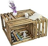 LAUBLUST 4er Set Vintage Holzkisten in Größe L - Massivholz Geflammt ca. 50 x 40 x 30 cm - Deko und Möbelkisten im Used Look
