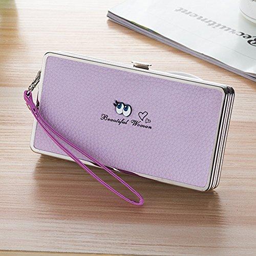 Bonice borsa del portafoglio da donna con la chiusura lampo in pelle PU multifunzione [Grande capacità] Card Slots Case Cover per iPhone 8/8 Plus/iPhone X, iPhone7/7 Plus/6S/6S Plus/6/6 Plus/5/5S/5C/S Occhi-Cover-07