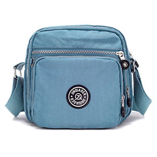 Tiny Chou Schultertasche Nylon leicht wasserdicht Kompakt Crossbody Messenger Bag mit Taschen grau