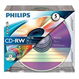 Philips CD-RW Rohlinge 80Min 700MB 4-12x 5er Slim Case coloured