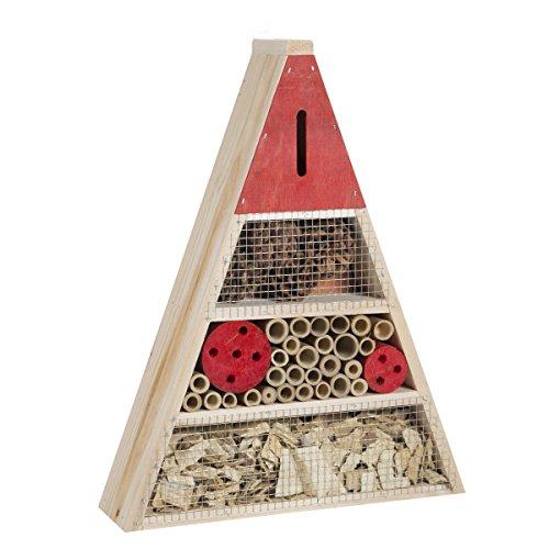 Wedestock Maison à Insectes, Hôtel Refuge en Bois Forme Triangle à Poser ou Suspendre Détails Rouges