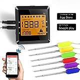 BBQ Thermometer Bluetooth, ICOCO Wireless Digital Grillthermometer Barbecue Thermometer Bratenthermometer Fleischthermometer Einstichthermometer mit 6 Edelstahl Fühler/Temperaturalarm/LCD-Bildschirm für Ofen Kochen Steak, APP Steuer mit 100M Reichweite
