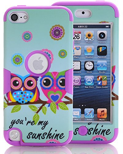 SAVYOU iPod Touch 6Fall, iTouch 5Fall, Paar Eule 3-Teilig Style Hybrid stoßfest Hard Case mit Kunststoff + Silikon Cover für Apple iPod Touch 56. Generation