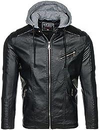 BOLF – Veste – Capuche – Faux cuir – Fermeture éclair – Biker – Motif – Homme [4D4]