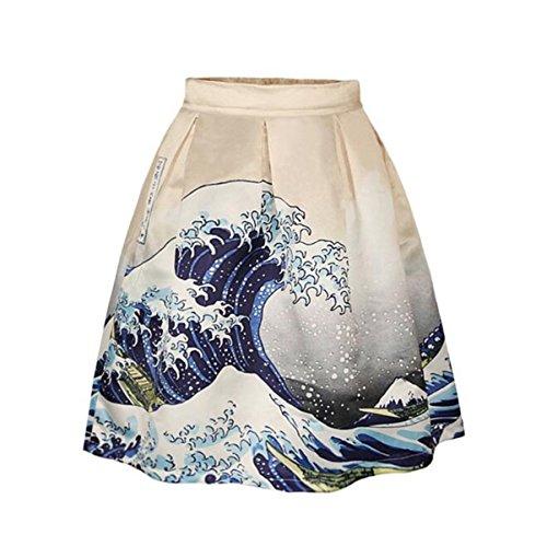 Donne ragazze abiti bella stampato in forma sottile Overknee Whirlpool a pieghe gonna Midiskirt (sea wave, S/M)