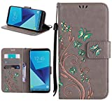 Roreikes Samsung Galaxy S8 Plus Hülle, Galaxy S8 Plus (6,2 Zoll) Case, Slim Retro Schmetterling und Blume PU Leder Books