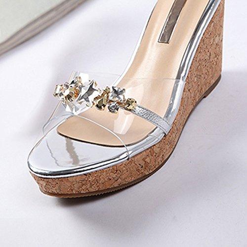 Sommer Damen Leder Schuhe Sommer Sandalen High Heels, 36 Apricot mit 6 cm  hoch Silver