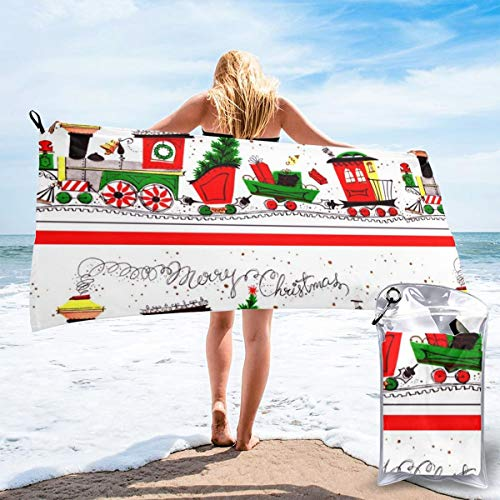 Pads bag Quick Drying Beach Towel Vintage Retro Merry Holiday Trees Coniferous Cones Snow Winter Oversized Extra Large Big Outdoor Travel Pool Beach Towel 27.5