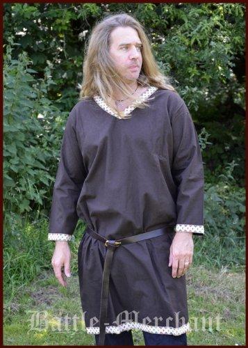 Wikinger Tunika aus Baumwolle, dunkelbraun von Battle-Merchant - LARP Mittelalter Größe XXL (Mens Mittelalterliche Ritter Kostüme)