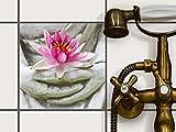 creatisto Badfolie | Dekorativ-Aufkleber Folie Sticker Fliesen kleben Küchen-Fliesen Badgestaltung | 20x20 cm Erholung Wellness Flower Buddha - 1 Stück