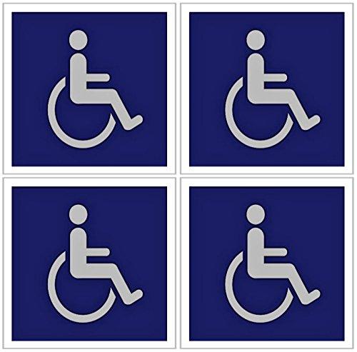 Groß (12,7x 12,7cm) Premium Qualität Behinderte/Rollstuhl Symbol Ada-konform Handicap Zugang Aufkleber Aufkleber -
