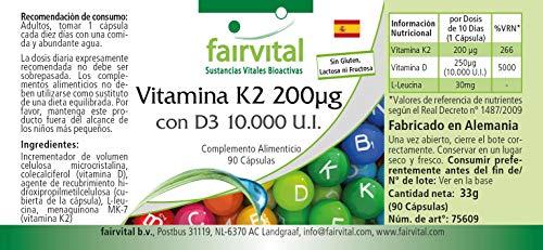 51YLuOLSLuL - Vitamina K2 200 mcg con D3 10000 IU - Altamente dosificado - 90 cápsulas solamente 1 cápsula cada 10 días - ¡Calidad Alemana garantizada!
