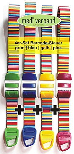 Profi-Stauschlauch - Venenstauer - Bundle 4 Stück gestreift blau/pink/gelb/grün -
