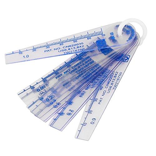 sourcingmap® 0,05-1mm Dicke Kunststoff Fühler Messgerät Lückenfüller messen Werkzeug 13 in 1