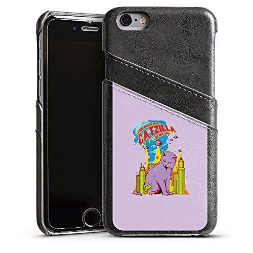Apple iPhone 4 Housse Étui Silicone Coque Protection Catzilla Godzilla Chat Étui en cuir gris