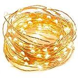 ERGEOB Lichterkette Weihnachtsdeko 50er LED 5M Silberdraht Weihnachtsbaum Lichterketten Garten Weihnachtsbeleuchtung warmweiß