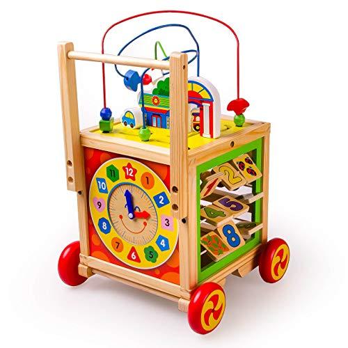 HH Lauflernwagen aus Holz für Babys ab 1 Jahr | Spielzeug 6 in 1 | Lauflernhilfe Kinder Gehhilfe | Walker Motorikwürfel mit Uhr, Formerkennung, Abakus, Labyrinth | Lernwürfel