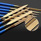 Diamant-Nadelfeilen / Diamantfeilen Kunststoffgriffe für Gitarre Bünde weichem Metall Holz und Kunststoff, 10-tlg set.(180mm)