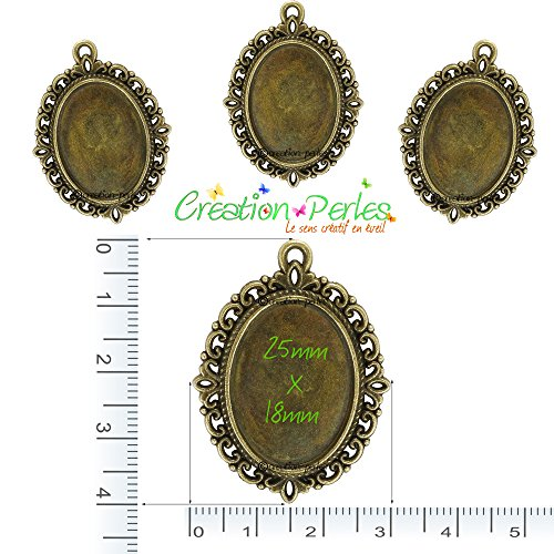 Création-Perles 10 Supports Pendentifs Cabochons Ovale Métal Bronze 40 mm x 30 mm Plateau 25 x 18 mm