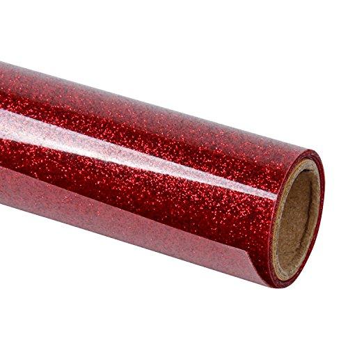 RUSPEPA Glitter Heat Transfer Vinyl -Glitter Flake Design Ideal Für T-Shirt, Kleidungssack Und Andere Stoffe-30.48 * 50Cm-Rot
