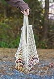 RRROB - borsa in rete riutilizzabile, in cotone organico, per spesa, giocattoli e altri oggetti, White