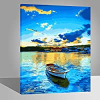 Wood Frame, Paint by Numbers DIY Oil Painting Lakeside Bridge Trees Canvas Print Wall Art Home Decoration by Rihe