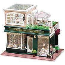 Het bouwen van speelgoed DIY Cottage Dollhouse Miniature DIY House Kit Houten Mini Meubilair Kit Creative kamer met meubels for Gift romantische Valentijnsdag (Coffee tour) for de mensen boven de 14 j