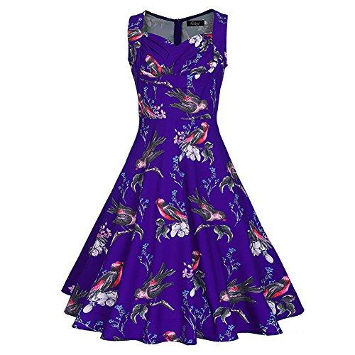 iShine Sommerkleid Damen Knielang Festliches Kleid Rockabilly ...