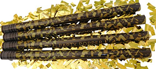 GW Handels UG 4er Set Konfettikanone XL 80 cm Party Popper Konfetti Shooter Konfettiregen gold metallic Feuerwerk Kanone Luftschlangen Konfetti Knaller Partykanonen Hochzeit