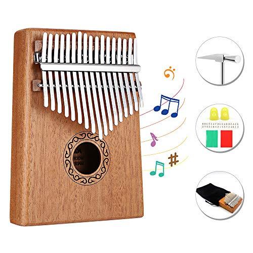 Dripex Kalimba 17 Schlüssel, Finger Daumenklavier Kalimba Thumb Piano Marimba Instrument für Musikliebhaber Anfänger (Mahagoni)