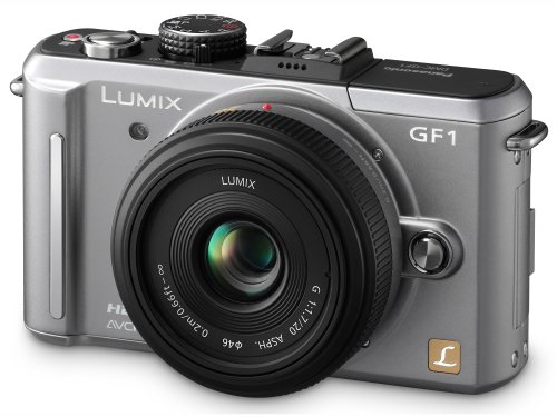 Panasonic Lumix DMC-GF1 Systemkamera (12 Megapixel, 7,6 cm Display, HD-Video, LiveView, Bildstabilisator) inkl. 14-45 mm Objektiv titan-silber