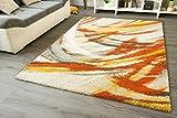 Designer Teppich Modern Seattle Brush Orange Gelb Kurzflor GUT Siegel Größe: 80x150 cm