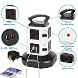Dazone 8 Outlet 2 USB Extension Tower Sockets Desktop USB Charging Station With 5.9ft Cord Power Socket Strip