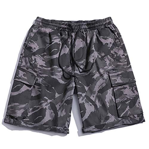 Feidaeu Men Shorts Camouflage Elastic Bequem und langlebig Lose Multi Pocket Tägliche Sport- oder Arbeitshosen -