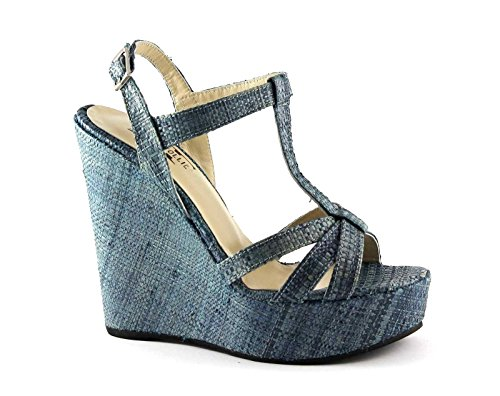 DIVINE FOLLIE 3082 blu sandali donna zeppa plateaux cinturino raffia 40