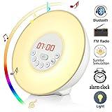 Wake Up Light, Luces-despertador, Wuloo Bluetooth Sunrise Simulación Luces despertar, luz de despertador, con altavoz Bluetooth, la naturaleza suena FM Radio, 7 colores / 10 de brillo, Touch Control Sunset & Snooze