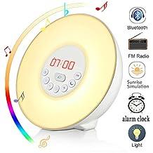 Wake Up Light, Wuloo Bluetooth Sunrise Simulation Wake-Up Light Colored Sunrise Alarm Clock, with Bluetooth Speaker, Nature Sounds FM Radio, 7 Colours /10 Brightness, Touch Control Sunset&Snooze