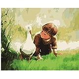 XIGZI Boy Goose DIY Pintura Al Óleo Imagen por Números Colorante Pintura Adhesiva Acrílica Caligrafía por Número Regalo de Niño 40X50 CM,con Marco de Madera,E