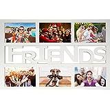 Empire Merchandising 671844 Collage Bilderrahmen, Friends Multishot, Profil 15 mm Kunststoff mit Glasscheibe, Aussengrösse 48 x 33 cm für 6 Bilder 13,5 x 9 cm, weiß