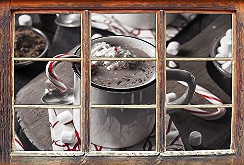 heisse Schokolade mit Zuckerstange B&W Detail Fenster im 3D-Look, Wand- oder Türaufkleber Format: 92x62cm, Wandsticker, Wandtattoo, Wanddekoration