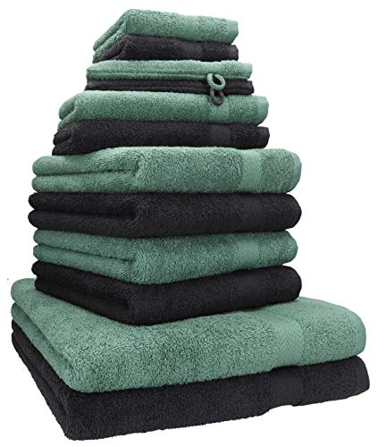 Betz 12-TLG. Handtuch Set Premium 100% Baumwolle 2 Duschtücher 4 Handtücher 2 Gästetücher 2 Seiftücher 2 Waschhandschuhe Farbe Graphit grau/tannengrün